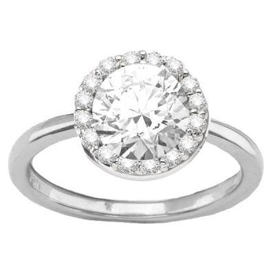 14K White Gold Diamond Engagement Ring; Diamond Weight: 0.25 ctw Center Diamond Not Included