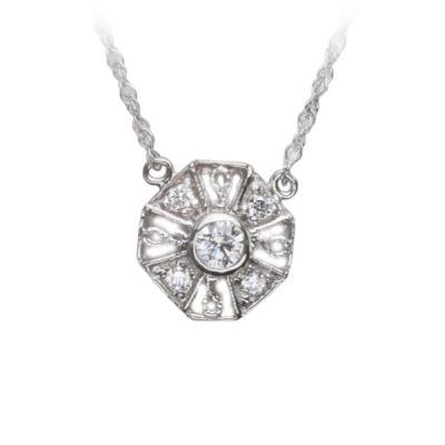 Perennial Diamond Pendant in 14K White Gold; Shown with 0.20 ctw with 1.2 Carat Cushion Diamond
