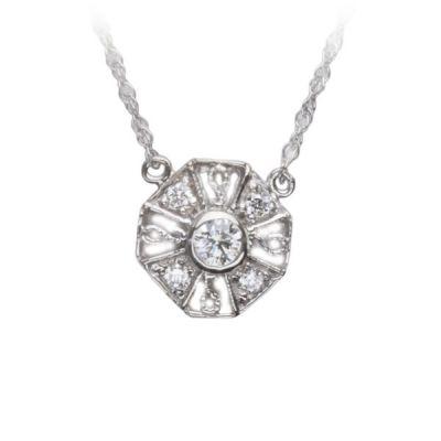 Perennial Diamond Pendant in 14K White Gold; Shown with 0.20 ctw with 2.52 Carat Princess Diamond