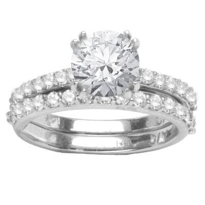 Diamond Engagement Ring Set in 14K White Gold: 0.70 ctw