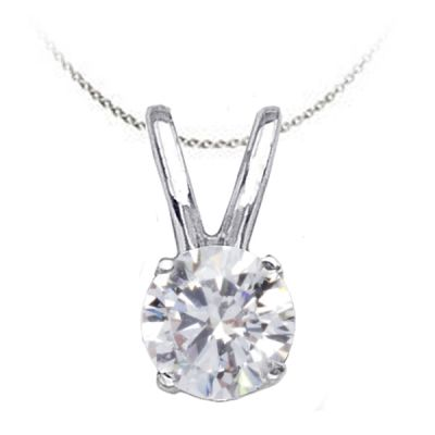 Solitaire Diamond Pendant in 14K White Gold; Shown with 0.50 ctw