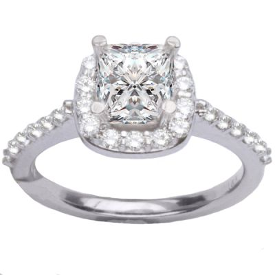 14K White Gold Diamond Engagement Ring; Diamond Weight: 0.50 ctwCenter Diamond Not Included