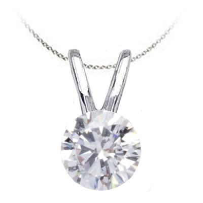 Solitaire Diamond Pendant in 14K White Gold; Shown with 0.75 ctw with 0.72 Carat Princess Diamond
