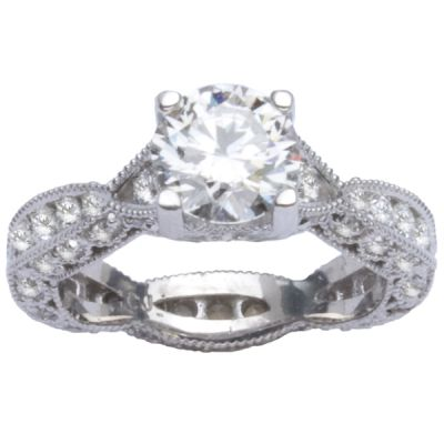 14K White Gold Diamond Engagement Ring; Diamond Weight: 1.12 ctw Center Diamond Not Included