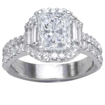 14K White Gold Diamond Engagement Ring; Diamond Weight: 1 ctwCenter Diamond Not Included