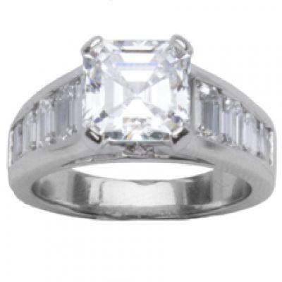 Platinum Diamond Engagement Ring; Diamond Weight: 1.25 ctw Center Diamond Not Included