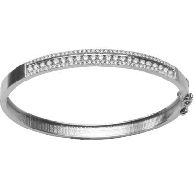 14K White gold Diamond Bangle Bracelet; Diamond Weight: 1.70 ctw