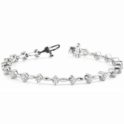 14K White Gold Diamond Bracelet; Diamond Weight :0.75 ctw