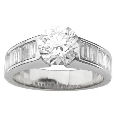 14K White Gold Diamond Engagement Ring; Diamond Weight: 1.45 ctw Center Diamond Not Included