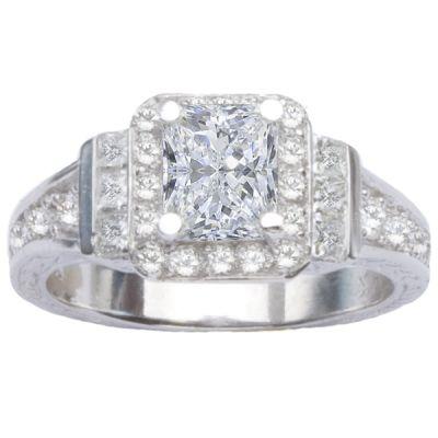 14K White Gold Three Stone Diamond Engagement Ring; Diamond Weight: 1.07 ctw
