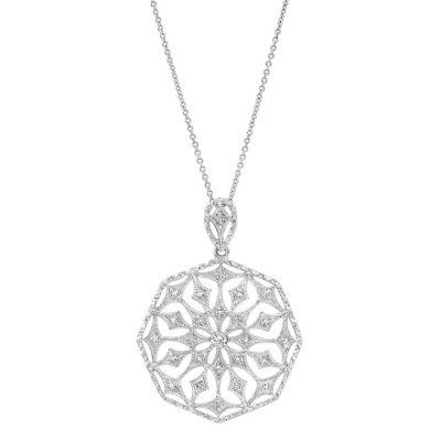 Celeste Diamond Pendant in 14K White Gold; .25 ctw