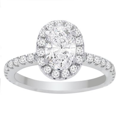 Sophia Oval Halo Engagement Ring in 14K White Gold: 0.70ct