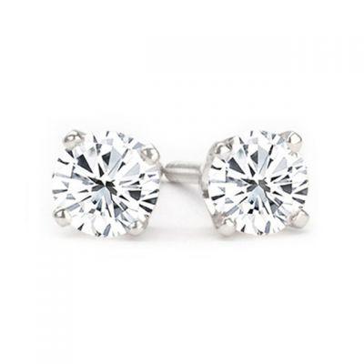 14K White Gold Diamond Stud Earrings; Diamond Weight:1.45 ctw