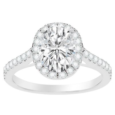 Lilith Halo Oval shape  Diamond Engagement Ring; .54 ctw