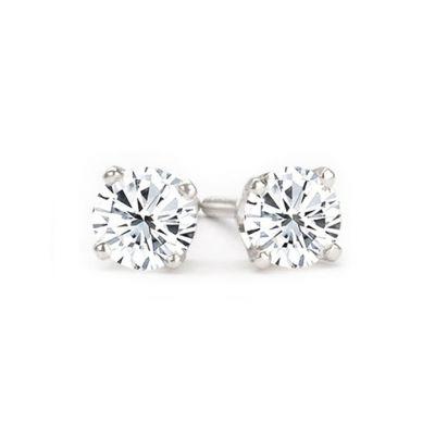 14K White Gold Diamond Stud Earrings; 1.08 ctw