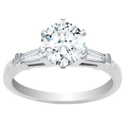 Monet Baguette Diamond Engagement Ring in 14K White Gold; 0.18 ct