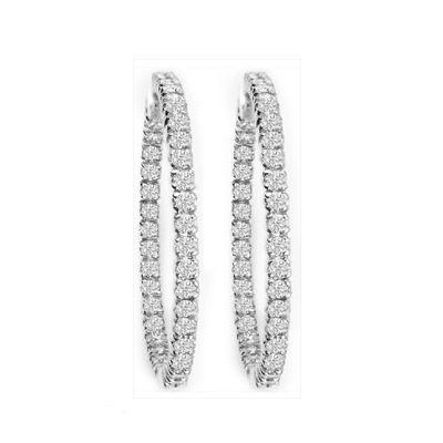 Petite Diamond Hoop Earrings in 14K White Gold; 1.00 ctw