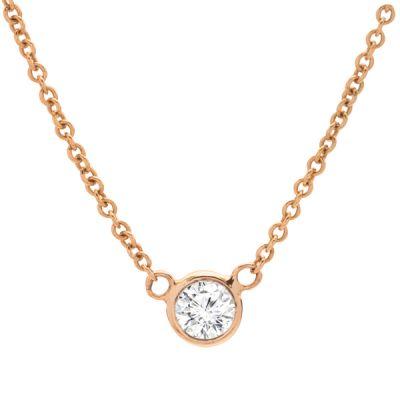 Bezel-Set Diamond Pendant Necklace in 14K Yellow Gold; .25 ct