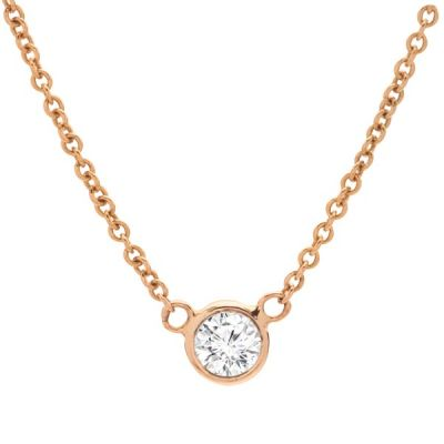 Bezel-Set Diamond Pendant Necklace in 14K Yellow Gold; Shown with 0.20 ct  with 0.53 Carat Princess Diamond
