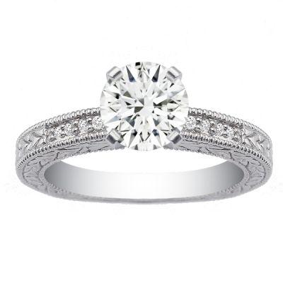 Priscilla Diamond Engagement Ring in 14K White Gold; 0.15 ctw