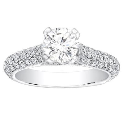 Christelle Cathedral 14k White Gold Pave Engagement Ring; 1.10 ctw