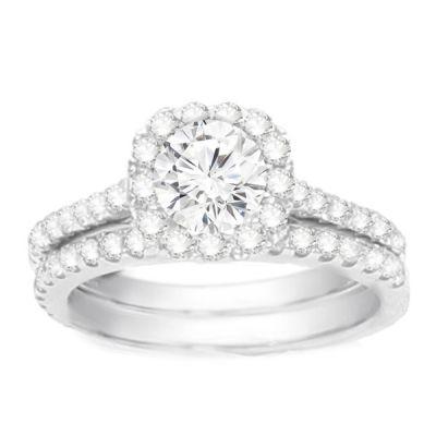 Diamond Engagement Ring Set- Petite Halo: 1.00 ctw