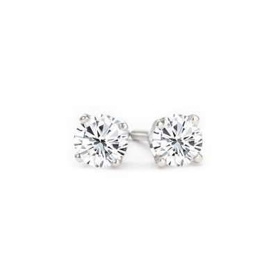 Diamond Stud Earrings in 14K White Gold; 0.50 ctw