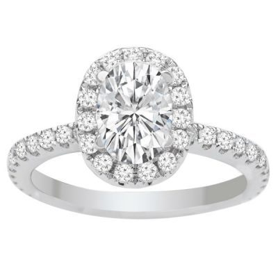 Sophia Oval Halo Engagement Ring in 14K White Gold: 1.71ctw