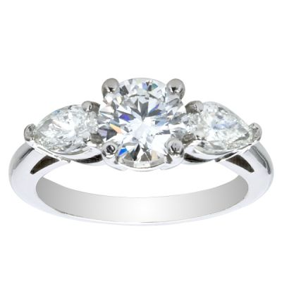 Adelina Three-Stone Pear Engagement Ring; 1.40 ctw