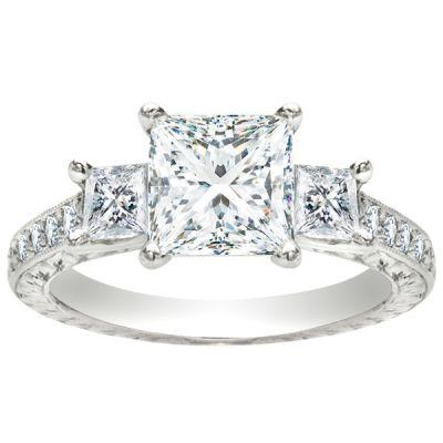 Trinity Three-Stone Princess Engagement Ring in Platinum; 1.59 ctw