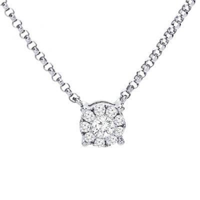 Halo Diamond Pendant in 14K White Gold; Shown with 0.16 ctw with 0.54 Carat Radiant Diamond