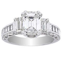 Three stone Platinum Diamond Ring; 1.60 CTW