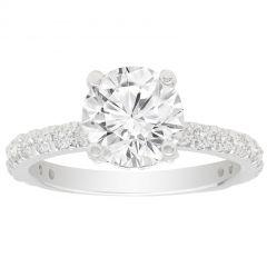 Petite Set Hidden Halo Diamond Engagement Ring in 14K White Gold; .70 ctw