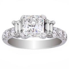 Three Stone 14K White Gold Diamond Ring; 1.10 CTW