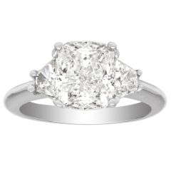 Three Stone 14K White Gold Diamond Ring; 0.75 CTW