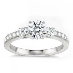 Amaris Three-Stone 14K White Gold Diamond Engagement Ring