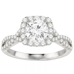 Rosalba Halo Twist Engagement Ring in 14K White Gold; 1.70ctw