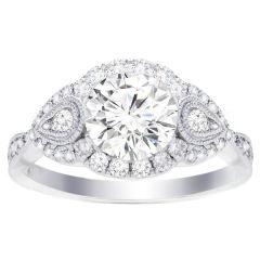 Diamond Ring Setting in 14K White Gold- Zoey; 0.52 ctw