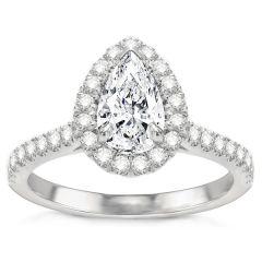 Delfina 14K White Gold Pear Halo Engagement Ring