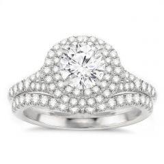 Elsa 14K White Gold Double Halo Diamond Engagement Ring Set
