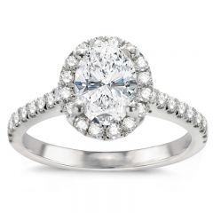 Genesis Oval Engagement Ring in 14K White Gold; 0.36 ctw