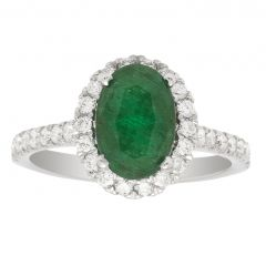 Genesis Oval Emerald Ring In 14K White Gold; 2.27 Ctw