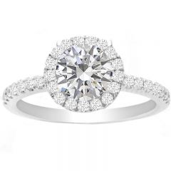 Daisy Round Halo Engagement Ring in 14K White Gold; 0.35 ctw