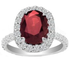 Ruby with Diamond Halo in 14K White Gold; 9.45 ctw