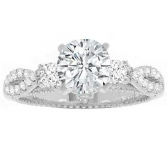 High Twist 3- Stone Ring in 14K White Gold; 0.41 ctw