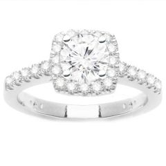 Leslie Square Halo Diamond Engagement Ring in 14K White Gold; 0.80 ctw