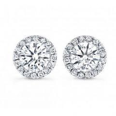 14K White Gold Diamond Halo Studs; 0.85 ctw
