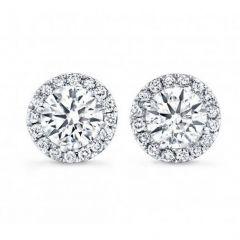 14K White Gold Diamond Halo Studs; 1.00 Ctw