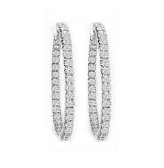14K White Gold Diamond Hoop Earrings; .70 Ctw