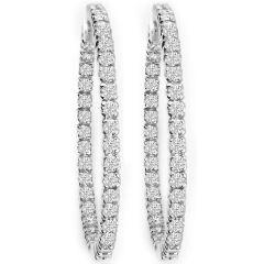 1.50 ctw Diamond Hoop Earrings in 14K White Gold